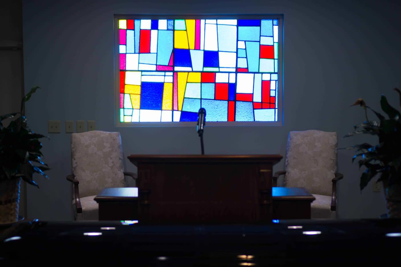 city of oaks stained glass traditional service funeral home chapel window casket